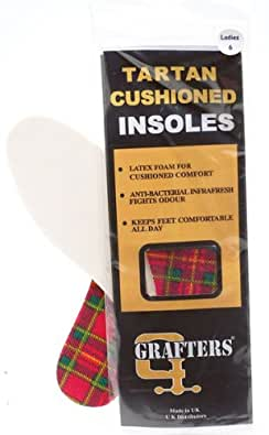 Grafters Unisex Padded 2 Pairs Tartan Checked Quality Insoles - Tartan Textile x12 Pairs, 6