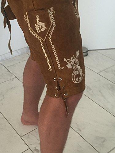 Lederhosen Anzug Trachtenhose Trachtenoutfit Oktoberfest Combi Hemd Schuhe Haferl Socken Träger Gürtel Braun -