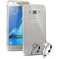 Samsung Galaxy J5 (2016) J510 Case Cover, Sunroyal® Nuovo Acrilico Copertura Di Caso Protezione Shinny Bling Custodia Struttura Metallica Fusion Specchio in Alluminio Protettiva Cassa per Samsung Galaxy J5 (2016) -
