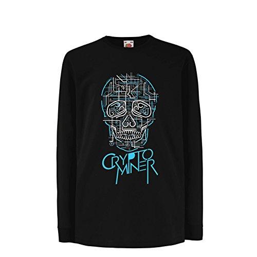 lepni.me Niños/Niñas Camiseta Crypto Miner - Cryptocurrency - Bitcoin Ethereum, Blockchain Mining Algorithms (12-13 Years Negro Multicolor)