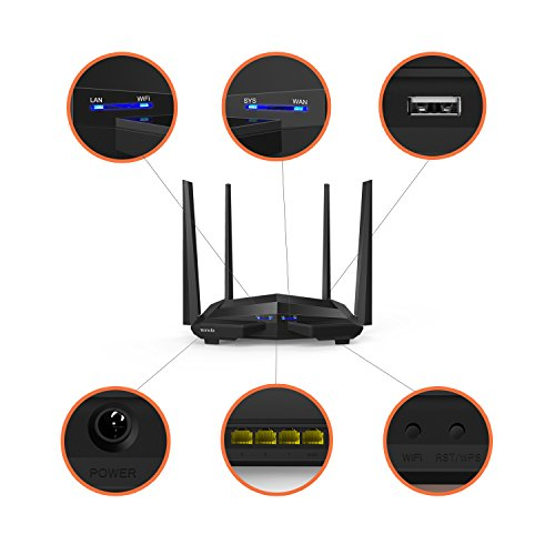 Tenda AC10U Router WiFi inalámbrico (AC1200 Doble Banda 5 GHz a 867...