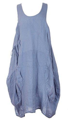 Vestito a tunica senza maniche da donna, in stile Lagenlook italiano, con tasche sui 2 lati, in lino, misura unica di tipo Plus size (46-52) Cornflower Blue