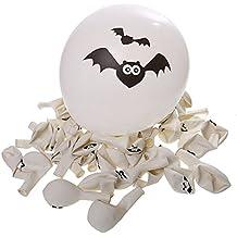 NUOLUX 100pz Halloween palloncini Party Home decorazione zucca pipistrello cranio stampa (bianco)