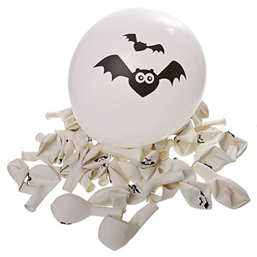 FENICAL 100pz Halloween palloncini Party Home decorazione zucca pipistrello cranio stampa (bianco)