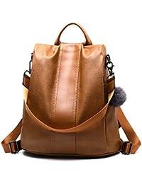 Lantch Women Backpack Handbag PU Leather Shoulder Bag Antitheft Rucksack Lightweight Waterproof Nylon School Bags