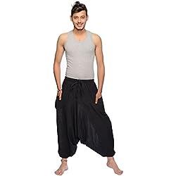 Pantalón Harem Hombres Bombacho en Algodón, Pantalones Aladin para Verano Singharaja, talla única Color negro, Tamaño talla única