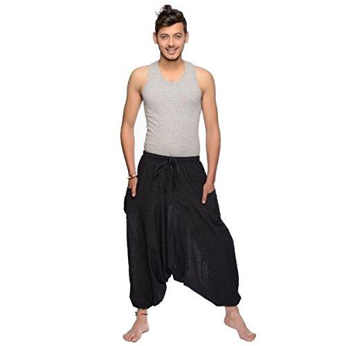 Haremshose Pumphose Aladinhose Pluderhose Yoga Goa Sarouel Baggy Freizeithose Singharaja Herren (Schwarz, Einheitsgröße)