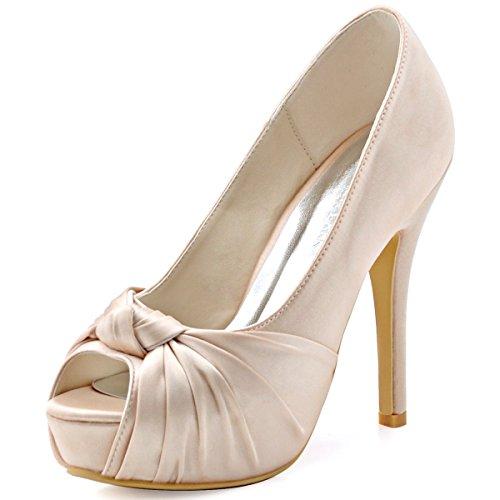 XINJING-S Bowknot High Heels Schuhe Party Hochzeit Frauen Pumps Heels OL Kleidung Schuhe Sandalen Champagner X1I6eI2EC6