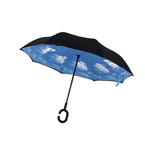 Le-Dafei Double Layer inversione ombrello pieghevole e Self Standing Inside Out parapioggia ombrello con le mani a forma di C libera della maniglia, Viaggi Ombrellone Auto, impermeabile