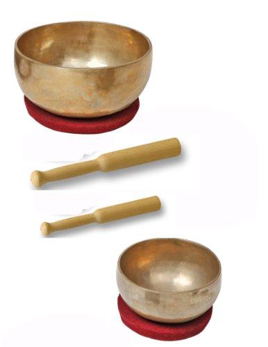 Klangschalen - Set, 2 Schalen mit Klöppeln und Filzkissen,