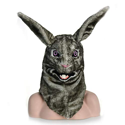 Rabbit White Kind Kostüm - KX-QIN Moving Mouth Faux Fur Kostüm for Erwachsene Mask-Mouth Mover White Rabbit Mask Deluxe Neuheit Halloween Kostüm Party Latex Tierkopfmaske for Erwachsene und Kinder (Color : Black)