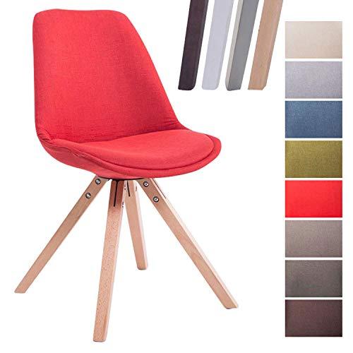CLP Retro-Stuhl Toulouse Square Mit Stoffbezug Und Hochwertigem Sitzpolster I Lehnstuhl Mit Stabilem Holzgestell I Sitzhöhe 48 cm Rot, Natura (Eiche) -