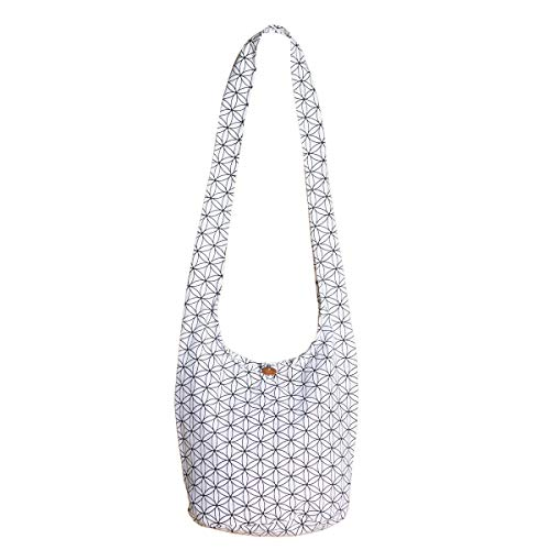 PANASIAM Shoulderbag \'Flower of Life\', in white, M