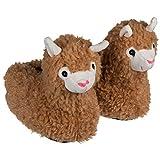 Objektkult Plüsch Hausschuhe Lama für Erwachsene, beige-Hellbraun, zotteliges Fell, Niedlicher Lama-Kopf, Rutschfeste Sohle. Verfügbare Größen 37/38, 39/40, 41/42. Größe:39/40