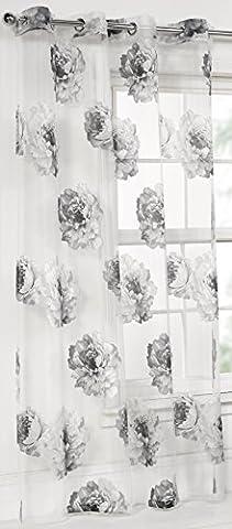 Rose Floral Monochrome (Black) Single Devoré (Burnout) Eyelet/Ringtop (8 Eyelets Per Panel) Voile Panel 55in Wide x 54in Drop (140cm x 137cm) Approximately By Hamilton