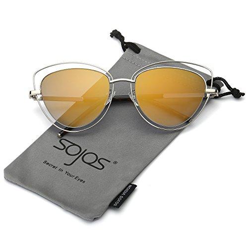 SOJOS Mode Frauen Damen Doppel Draht Doppel mit Rand UV400 Katzenaugen Sonnenbrille SJ1047 mit Silber Rahmen/Gold-Linse