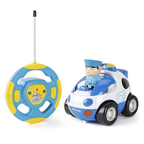 (Teepao Cartoon ferngesteuertes Polizei-Rennen Auto Zug Spielzeug für Kinder Geburtstag Geschenk, Fernbedienung mit Licht Musik Radio für Kleinkinder, Vorschuler, Baby Kinder, starker Widerstand blau)