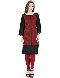 Agroha Women's Designer Fancy Maroon And Black Printed Cotton Kurti With 3/4 Sleeves