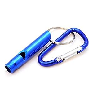 compacte pour dressage de chien/Sifflet d'entraînement avec mousqueton, sifflet de survie pour extérieur/Survival, Couleur?: Bleu-Ganzoo comme porte-clés