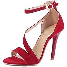 Minetom Mujer Verano Punta Abierta Sandals Sólido Color PU Sandalia Tobillo Correa Stiletto Sandalias Zapatos de Tacón