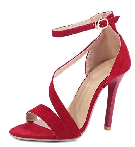 Minetom Donna Primavera Estate Sexy Stiletto Cinturino Caviglia Sandalo Tacco Scarpe Pompa Scarpe Col Tacco Rosso EU 33