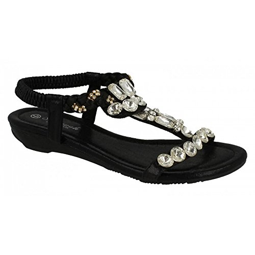 Savannah - Sandali gioiello bassi con cinturino alla caviglia - Donna (39 EU) (Nero)