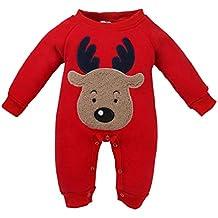 QUICKLYLY Navidad Peleles Pijamas Conjunto Bebé Niño Niña Recién Infantil  Elk Largo Manga Mono Ropa f8c061638377