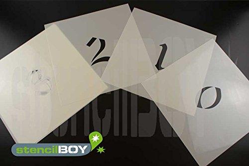 200mm Zahlenschablonen 0-9 Stencilfont AD mit Sprühnebelschutz