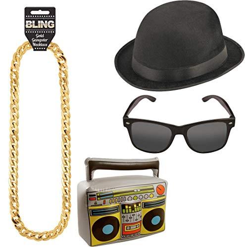 Islander Fashions Mens Boom Box Kette Hut Brille Kit der 1980er Jahre Kostümzubehör