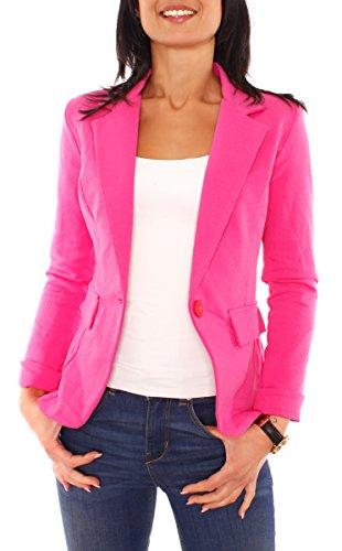 Damen Sommer Sweat Jersey Blazer Jacke Sweatblazer Jerseyblazer Sakko Kurz Gefüttert Langarm Uni Einfarbig Pink XS - 34 (S)