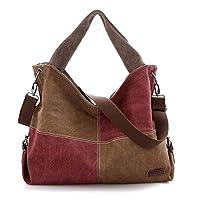 Mike Wodehous Messenger Bag Retro Casual Large-capacity Canvas Hit Color Handbag (Color : Brown)