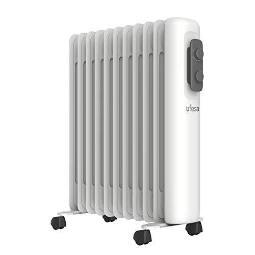 Ufesa RD2500A - Radiador de Aceite Portátil 2500W, 11 elementos, Diseño Slim, Termostato Regulable...