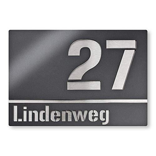 Moderne Hausnummer Edelstahl-Platte - Anthrazit RAL 7016 - Schild mit Nummer und Straßenname - inkl. Gravur-Service -