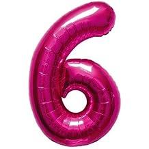 40cm Aire Llena Número 6 globo magenta (deflactado)