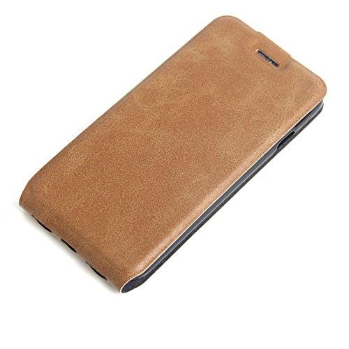 iPhone Case Cover Pour iPhone 7 étui vertical en cuir Flip avec fente pour carte et cadre photo ( Color : Black ) Brown