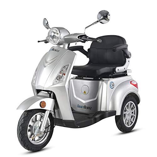 Krafthertz® Seniorenmobil Papamobil - Elektro Dreirad für Senioren mit 800 Watt, max. 20 km/h, Reichweite bis zu 60 km, Farbe: Silber