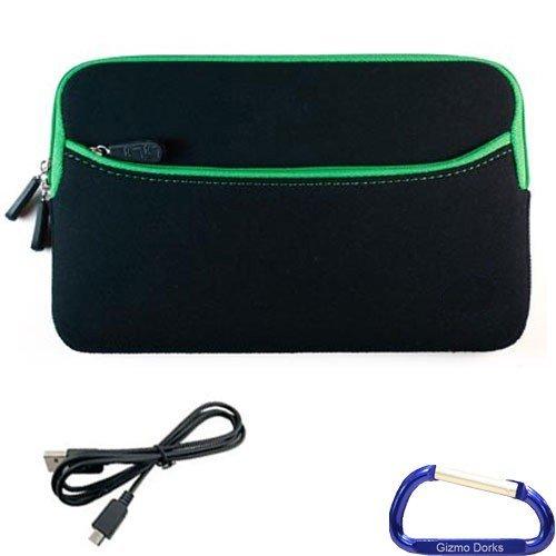 Gizmo Dorks Neopren Reißverschluss Ärmel (schwarz mit grünem Rand) und Micro-USB-Kabel mit Karabiner Schlüsselanhänger für HP TouchPad Schlüsselanhänger Touchpad