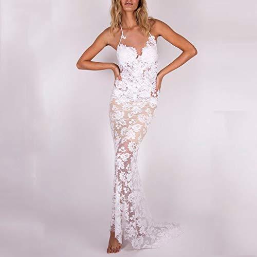 TianranRT Frauenkleiderrock,Rückenfreies Hochzeitsfest-Kleid Der Art- Und Weiselong Beachs Reizvolle V-Ansatz Volle Farbe Der Spitze-Frauen Normale Beiläufige,Weiß(S) -
