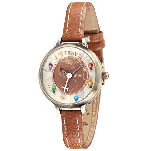DREAMING Q&P Mädchen Analog Quarz Uhr mit Braun Echtleder Armband Lieblich Flugzeuge Design MW261B