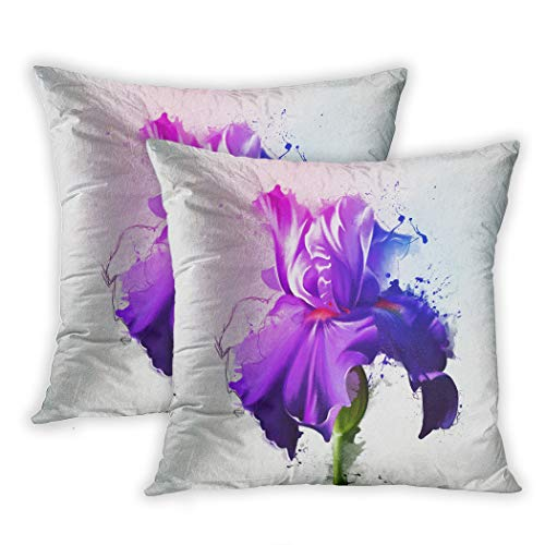Nekkzi Cushion Covers Set of Two Print Blue Luxury Purple Iris White Bright Colors with of The Sketch and Spray Paint Bloom Sofa Home Decorative Throw Pillow Cover 18x18 Inch Pillowcase Hidden Zipper - Blossom Room Spray