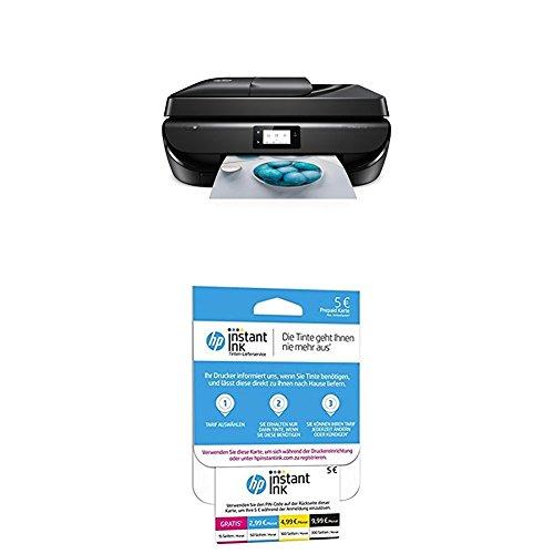 HP OfficeJet 5230 Multifunktionsdrucker (Drucken, kopieren, scannen, faxen, WLAN, Airprint, HP Instant Ink Ready) schwarz + HP Instant Ink Karte (Tarif für 15, 50, 100 oder 300 Seiten pro Monat)