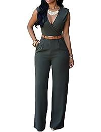 Donna Tuta Senza Maniche Scollo A V Jumpsuit Eleganti Puro Colore Tuta con Lungo  Pantaloni 1ce3338f4fb