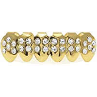 Comparador de precios RENYZ.ZKHN Full Diamond Gold Crown _ Full Diamond Gold Teeth Set Of 8 Teeth Of The 8 Diamond And Gold Teeth Trendsetter Hip-Hop Braces, Braces, Braces, Hiphop.,Golden Lower Teeth (28 Drills) - precios baratos