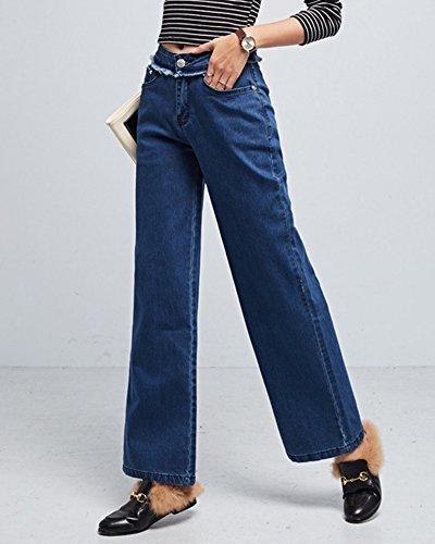 Femmes Casual Taille Haute évasé Pantalon Large Longues Palazzo Denim Pantalons Bleu