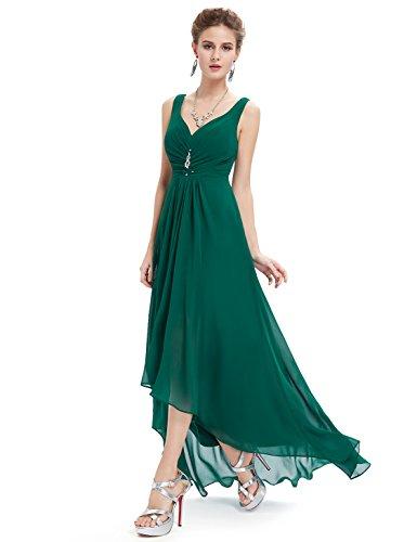 Ever-pretty scollo v abito da sera donna lunga high-low chiffon impero verde scuro 42