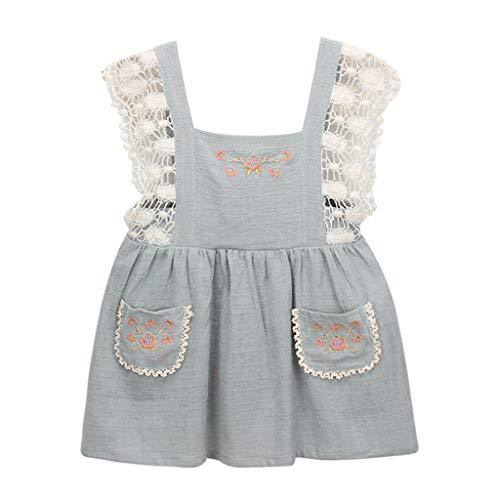 ze Patchwork Party Prinzessin Overall Kleid Bib A-Linien Shiftkleid Latzkleid(Hellblau,100) ()