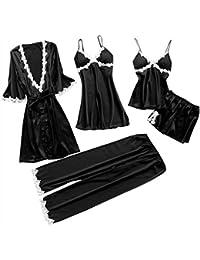 LILICAT 5PC Suit Nachtwäsche Damen Mode Dessous Unterwäsche Babydoll Nachtwäsche Kleid Rückenfrei Zweiteilige Nachthemd Schlafanzüge Negligee Wäsche Set Rückenfrei Schlafanzüge