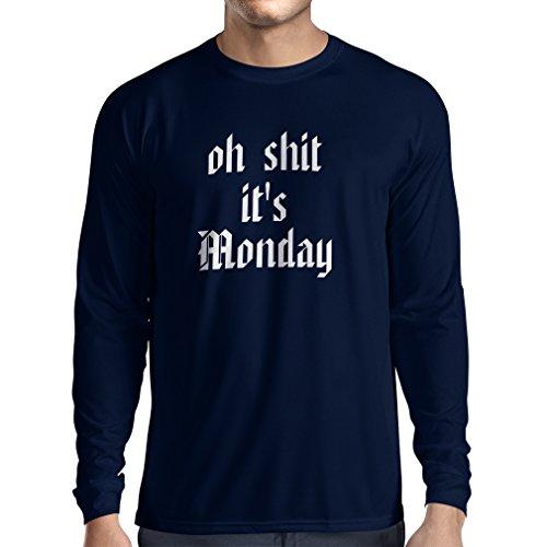 T-Shirt mit langen Ärmeln Oh shit es Montag Unisex T-Shirt Blau Weiß