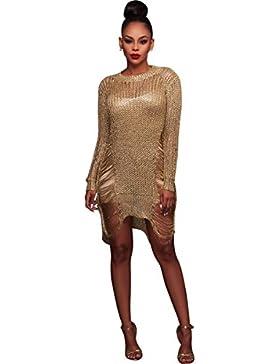Moda Vestido | Vestido para mujer Europeos y Americanos de oro | vestidos suéter hueca falda falda Blusa suéter...