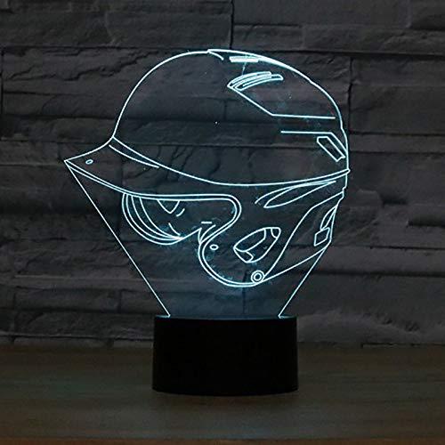 YDBDB Nachtlicht Baby Schlaf Beleuchtung Atmosphäre Dekor Zimmer 3D Baseball Cap Lampe 7 Farbwechsel Helm Hut geformt Led Schreibtischlampe Geschenke (Baseball Dekor Zimmer)